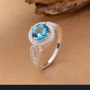 ..925 Sterling Silver Aquamarine /Topaz Ring